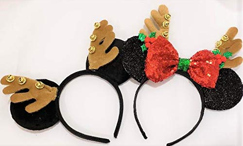 GREATLILDEAL Minnie Mouse Inspired Mickey's Ears Christmas Sparkly Ears Headband Homemade Bow -