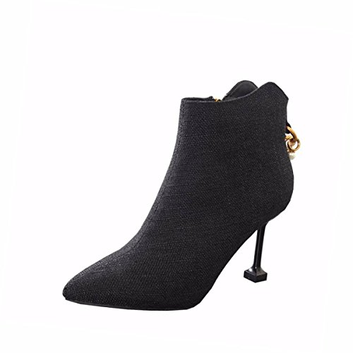 Boots Winter Fine Naked And 9Cm Women's Sexy And High Boots Heel Heel Cat Women'S Short HBDLH Heel Black Autumn Short Fashion shoes Pointed Breathable Boots BwgWFnFpq