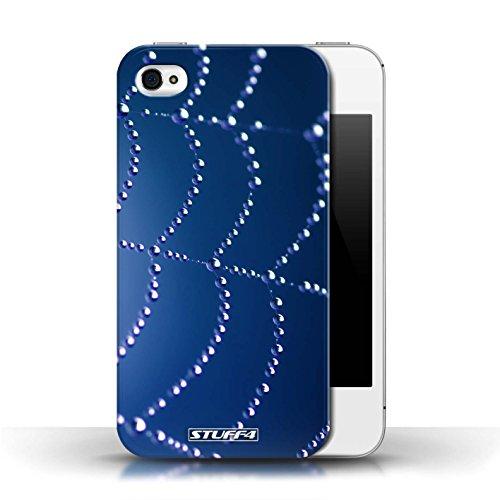 Etui pour Apple iPhone 4/4S / Bleu conception / Collection de Toile d'araignée Perles