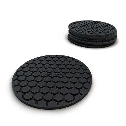 Large Product Image of Glogex Black Silicone Drink Coaster Set of 8, Prevents Furniture and Tabletop Damages, Absorbs Spills and Condensation