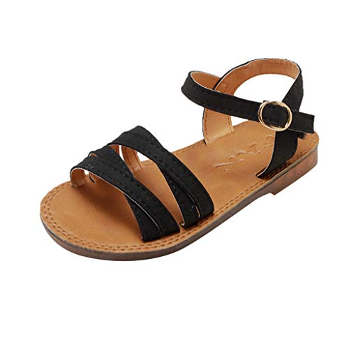 RAINED-Girl's Flat Sandals Summer Open Toe Ankle Strap Dress Sandals for Kids Little Princess Beach Casual Flats Shoes Black