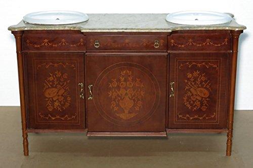 (Antiques Italian Mahogany Walnut Marquetry Bathroom Vanity Washstand)