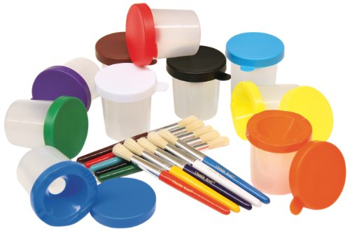 Creativity Street 5104 No-Spill Cups & Coordinating Brushes, Assorted Colors, 10/Set (CKC5104)