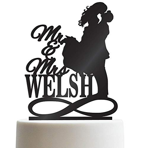 Mr & Mrs Infinity Symbol Personalized Wedding Cake Topper Groom And Bride Kissing Customized Last Name To Be | Solid Color Cake Toppers]()