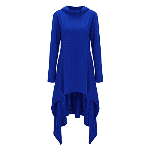 Bordo Lungo Allentato Blu Incappucciato Vestito Donne Irregolare Asimmetrico Aecibzo Manicotto YzTEIqWO