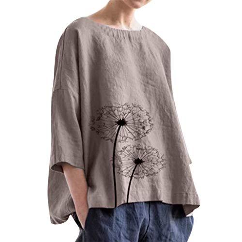 QIQIU Linen Loose Daily Tops Blouse Women's 2019 Casual Plus Size Solid Dandelion Print Beach Shirt Soft Tank Tops Coffee
