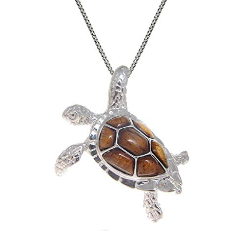 Aloha Jewelry Company Sterling Silver Koa Wood 3D Turtle Necklace Pendant with 18