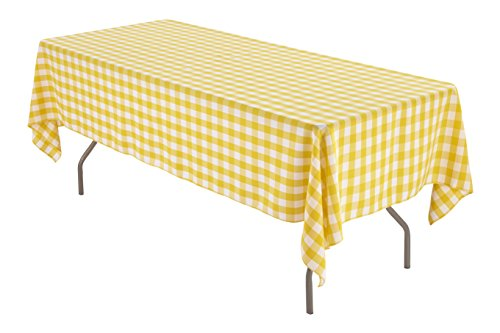 60 x 102 inch Rectangular Polyester Tablecloth (Yellow and White ()