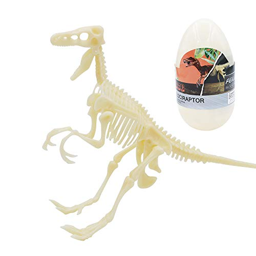 Tresbro 3D Dinosaur Puzzle Toys for Velociraptor Model, DIY Skeleton Figure Toys with Dinosaur Books, Storage Egg, for Kids, Adult