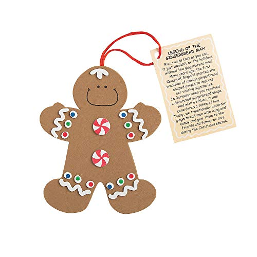 Fun Express Legend of The Gingerbread Man Foam Ornament Craft Kit-Makes 12 -