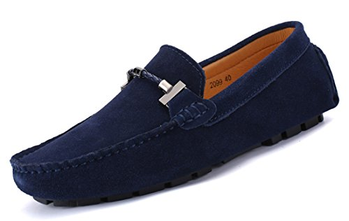 Mens On Moccasins TDA Blue Suede Loafers Slip Penny Boat Shoes Walking Driving wppqg7TWEd