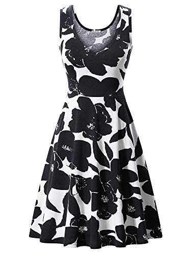 HUHOT Work Dresses, Summer Floral Vneck Flared Dress with Pockets Black and ()