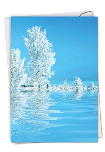 Tree-flections - 12 Boxed Season's Greetings Cards with Envelopes (4.63 x 6.75 Inch) - White Snow Trees, Beautiful Winter Landscape - Christmas Notecard Set, Happy Holiday Notes C6134ASGG-B12x1