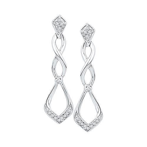 10kt White Gold Womens Round Diamond Cascading Teardrop Dangle Earrings 1/10 Cttw ()