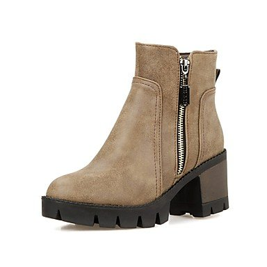 RTRY Women's Shoes PU Leatherette Fall Winter Comfort Novelty Bootie Boots Chunky Heel Round Toe Booties/Ankle Boots Zipper For Party & US6 / EU36 / UK4 / CN36 g6dSBz3