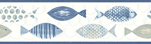 Fish Wall Border - Chesapeake 3113-12213B Key West Blue Fish Border Key West Fish Border