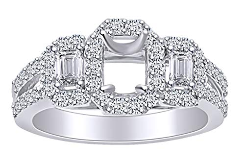 - 1.01 Carat (Cttw) Round & Baguette Cut White Natural Diamond Semi Mount Engagement Ring in 14k Solid White Gold Ring Size-6.5
