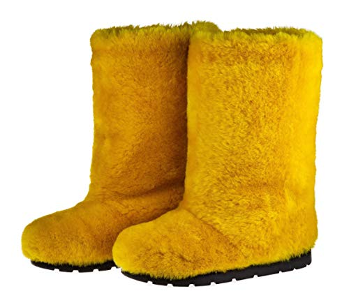 - Yellow Sheepskin Winter Boots for Women, Long Boots, Snow Boots, Furry Boots, Color Boots, Mukluks, Yeti Boots, Eskimo Boots, LITVIN