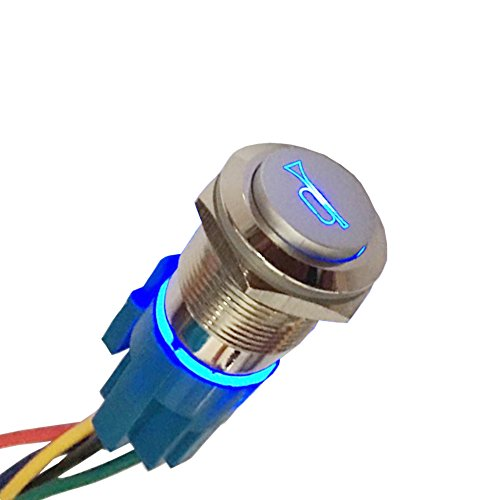 Etopars 12V 5A Car Motor Blue LED Light Momentary Speaker Horn Bells Push Button Stainless Steel Metal Switch Toggle 19mm Socket Plug Wire