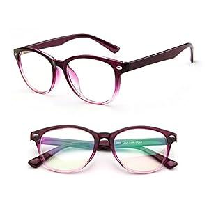 Misright Retro Eyeglasses Frame Full-Rim Men Women Vintage Glasses Eyewear Clear Lens New (Purple)