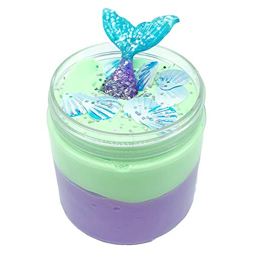 CMrtew ❤️ Beautiful Mermaid Cloud Slime Putty Scented Stress Kids Clay Toy (Green, 100ml) (Children Clay Bentonite)