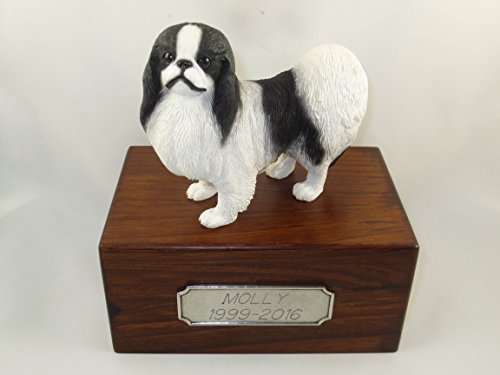 Beautiful Paulownia Small Wooden Urn with Black & White Japanese Chin Figurine & Personalized Pewter Engraving