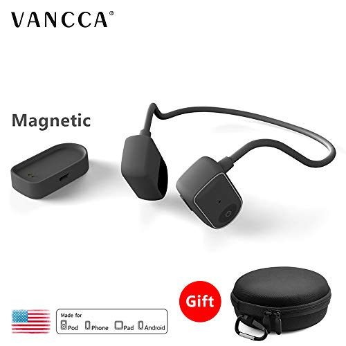 Bone Conduction Headphones with Mic Bluetooth Wireless Neckband Earphones Waterproof Noise Cancelling Safety Glasses for iPhone Android TV Running Office Sport Large Head Lightweight Black