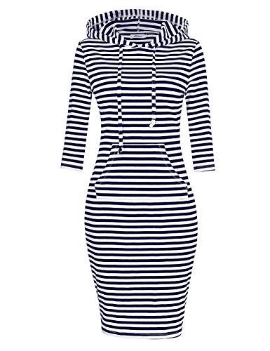 MISSKY Women Stripe Pocket Knee Length Slim Sweatshirt Casual Pullover Hoodie Dress (S, Blue&White16#) (Of Pullover Hoodie)
