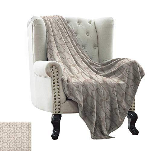 Flannel Blanket Beige,Swirling Leaves Motifs Regular Curved Baroque Floral Design Retro Old World in Mod Art, Beige Weighted Blanket for Adults Kids, Better Deeper Sleep 50