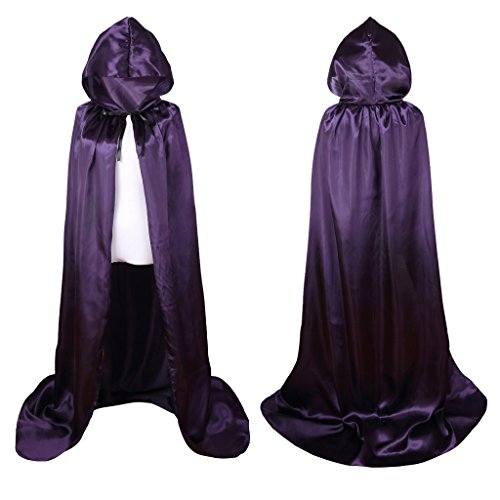 Colorful House Unisex Full Length Hooded Cape Costume Cloak (Purple, 59