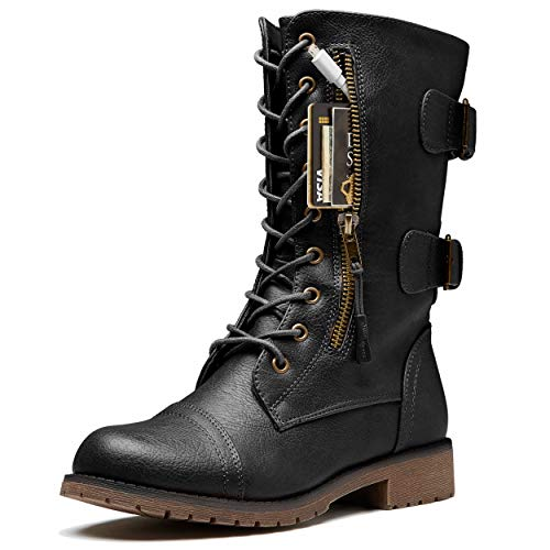 DailyShoes Women's Military Lace Up Buckle Combat Boots Mid Knee High Exclusive Credit Card Pocket, Twlight Black, 8.5 - Combat Boots