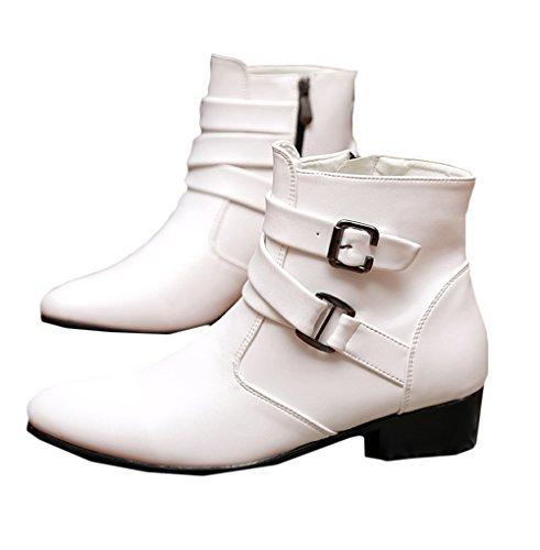 鼻グループスリンク[美しいです] シューズ メンズ PUレザー イングランド風 ハイ丈 カジュアルシューズ ゴムひも ファッション 冬 秋 厚手 尖頭靴