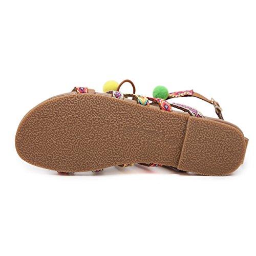 Chancleta Tanga Pisos Verano Zapato Pom Cordones Sandalias Con Sandalia Para Plana Bohemia Correa Playa Marrón Zapatos Casuales Cuentas Cómodo Gracosy Cuero Mujer De pom Moda Gladiador Uq01H6