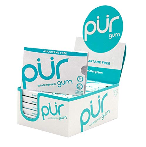 The PUR Company  | Sugar-Free + Aspartame-Free Chewing Gum  | 100% Xylitol  | Wintergreen | Vegan + non GMO  | 9 Pieces per Pack (Tray of 12, 108 pieces)