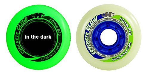 HYPER CONCRETE+G GLOW IN THE DARK 80MM/84A (4 WHEELS per pack) - inline wheels for freeride, recreational and slalom ()