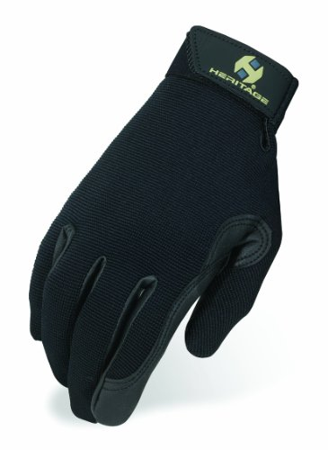Riding Horse Gloves (Heritage Performance Gloves, Size 7, Black)