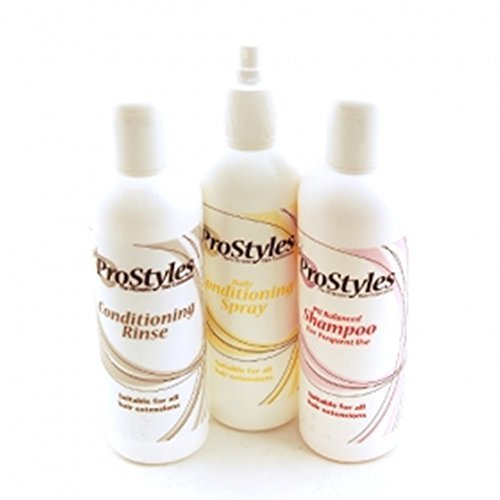 ProStyles Wig and Hair Extension Care Pack | Shampoo, Conditioner and Conditioning Spray | 3 x 250ml Bottles |For Synthetic Fibre or Human Hair