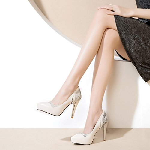 Women's Leather Platform High-heeled Shoes Fashion Color Matching Shallow Spring Shoes Stiletto Dress Pumps For Formal Wedding Patry Beige 83IxAYwx