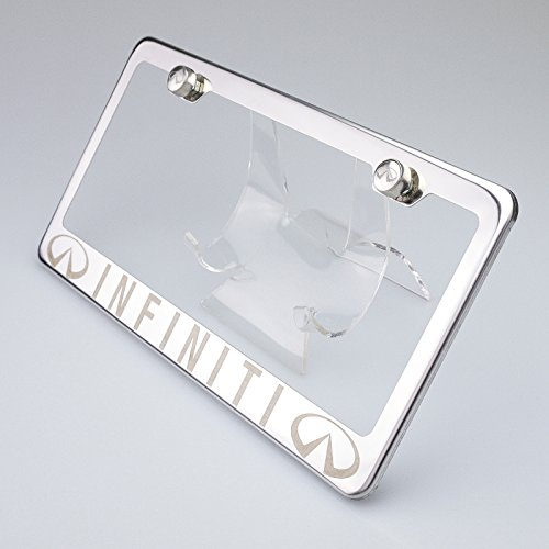 100% Stainless Steel Fit Infiniti Laser Engrave Chrome Mirror Polish License Plate Frame Holder with Logo Steel Screw Caps (Infiniti Qx56 License Plate)