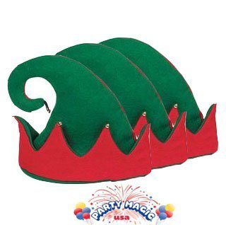Set of 3 Felt Elf Hats with Jingle Bells -