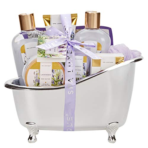 Spa Luxetique Spa Gift Basket Lavender Fragrance, Luxurious 8pc Gift Baskets for Women, Cute Bath Tub Holder - Best Holiday Gift Set for Women Includes Shower Gel, Bubble Bath, Body Butter & More. - French Bath Gift