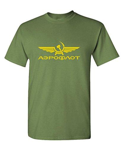 The Goozler AEROFLOT - retro funny russian airline Tee Shirt T-Shirt, M, Military