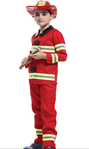 HalloweenCostumeParty Fireman costume Fullset for toddler & kids boys (S(5T-6)