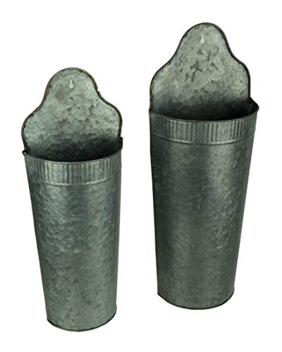 Galvanized Metal Rustic Curved Wall Pocket Set of 2 from PD Home & Garden