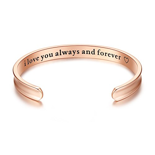 I love you always and forever Grooved Cuff Bangle Bracelets, Jewelry for Women, Girls, Wife, Her, Mom, Mother, Daughter, Girlfriend, Birthday, Christmas, Wedding Anniversary Day Gifts (Rose gold)