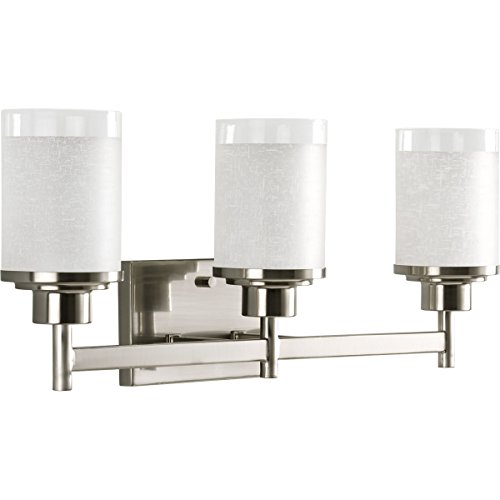 Progress Lighting P2978-09 Alexa Collection Three-Light Bath & Vanity, 22-Inch Width x 9-3/8-Inch Height, Brushed Nickel