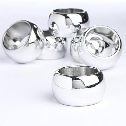 Juego de 12 plástico plateado anillos para servilletas para acontecimientos especiales, bodas o fiesta