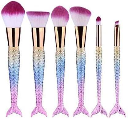 Qiyuezhuangshi001 メイクブラシ、6つの大魚テールメイクブラシ、チークブラシ、財団ブラシ、アイシャドウブラシ、ソフト毛皮専門の初級美容ツール、ブルー,ゴージャスな品質 (Color : Multi-colored)