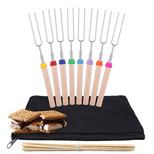kubo Telescoping Marshmallow Roasting Sticks Set of 8 Hot Dog Forks&Smores Skewers Camping Cookware 32 Inch Campfire Roasting Sticks for Kids (Best Way To Bbq Hot Dogs)