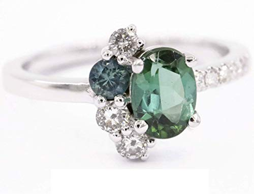 OOAK Ombre Asymmetric Green Tourmaline and Gray Diamond Cluster Ring in 14k white gold